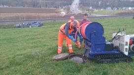 Eigenentwicklung der Kanalreinigung Näf GmbH: Raupenspülhaspel